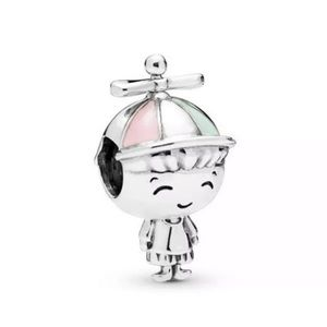 Propeller Hat Boy, Green & Pink Charm fit pandora